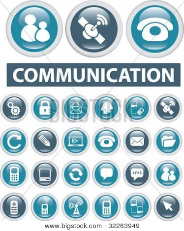 commuication buttons, icons, signs, vector illustrations