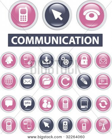 communication buttons, icons, signs, vector illustrations