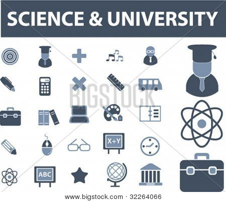 science & university icons, vector