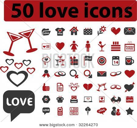 50 love icons, signs, vector illustrations