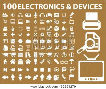 100 electronics icons, signs, vector illustrations