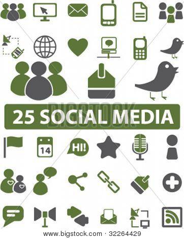 25 social media icons, signs, vector illustrations