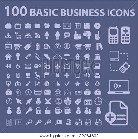 100 basic business icons, signs, vector illustrations