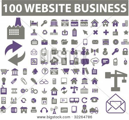 100 web & business icons, signs, vector illustrations