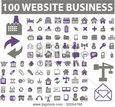 100 iconos web & negocios, signos, ilustraciones de vectores