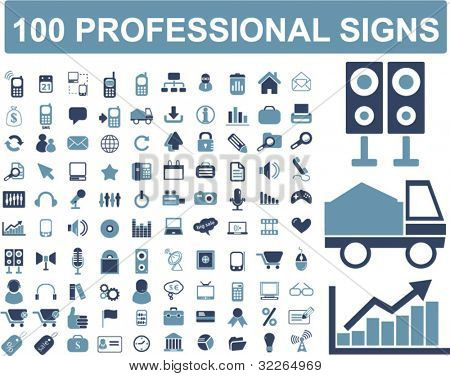 100 professional signs, icons, vector illustrations