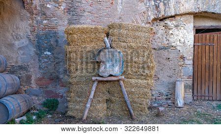 poster of Archery Target On The Background Of The Walls Of The Ancient City. The Attributes Of The Middle Ages