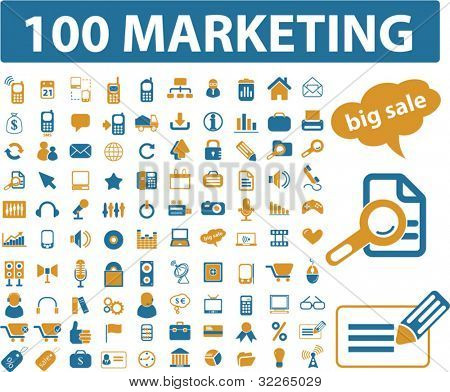 100 marketing icons, signs, vector illustrations