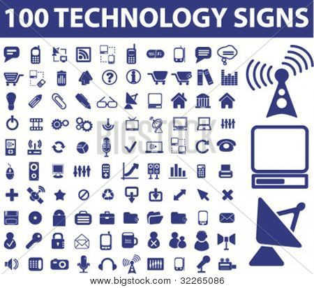 100 technology signs, icons, vector illustrations