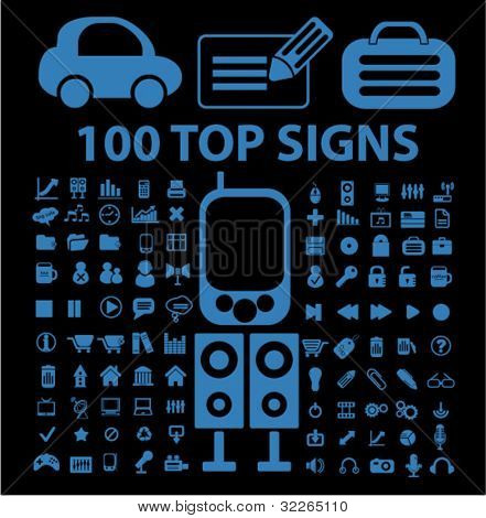 100 top icons, signs, vector illustration set