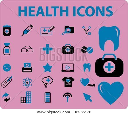 health icons, signs, vector illustrations