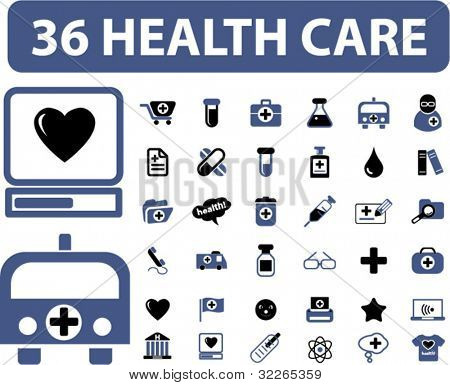 36 health care icons, signs, vector illustrations set