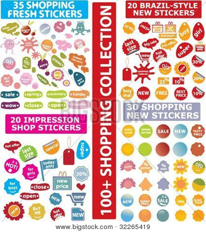 shopping stickers, icons, signs, vector illustration set