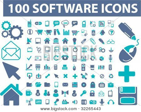100 software interface icons, signs, vector illustrations set