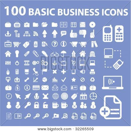 100 business icons, signs, vector