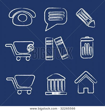 office icons, signs, vector illustrations set