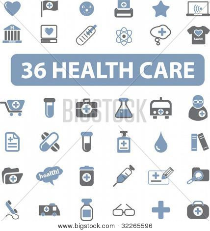 health care icons set, vector
