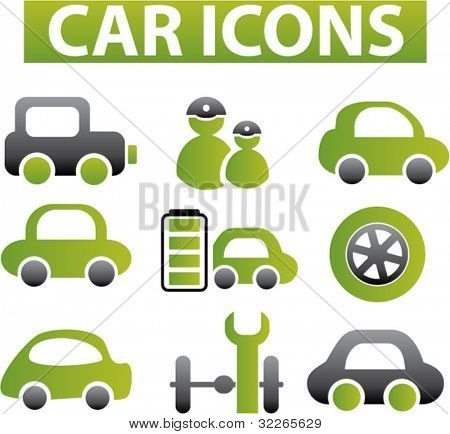 car icons, signs, vector illustrations set