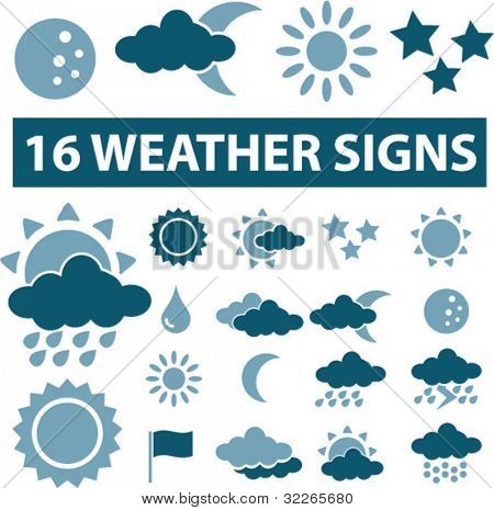 weather icons set, signs, vector