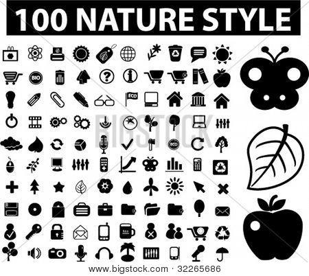 100 muestras, conjunto de iconos de naturaleza & ecología, vector