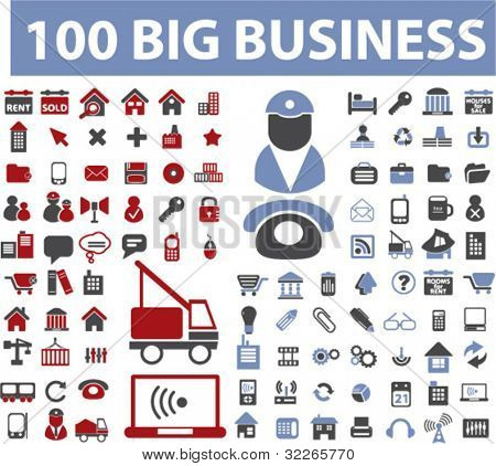 100 big business icons set, vector illustrations