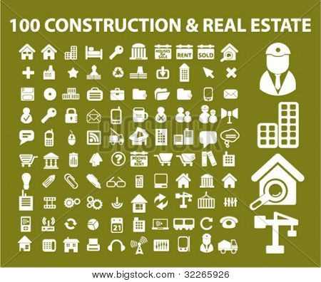 100 construction & real estate icons set, vector illustration