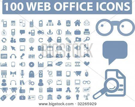 100 web office icons set, vector illustration