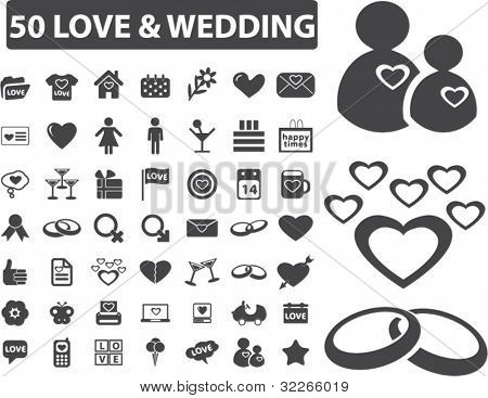 50 love & wedding icons set, vector illustrations