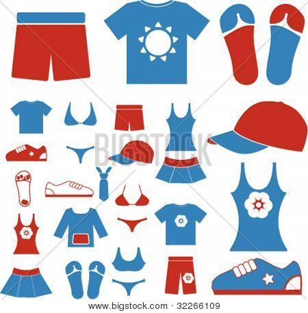 verano vestido & ropa iconos set, vector