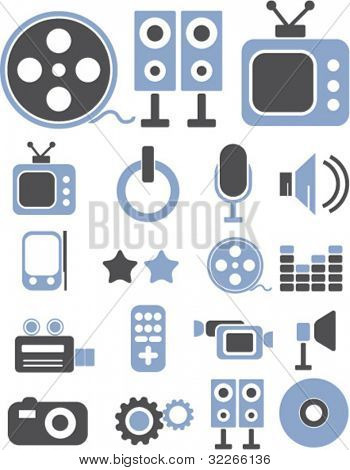 media icons set, vector