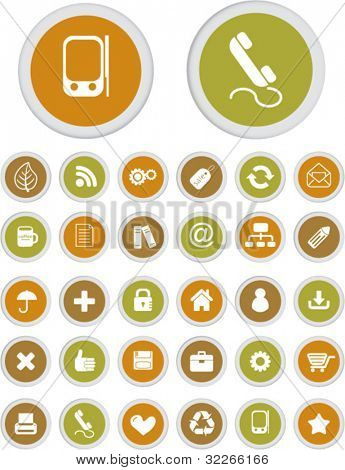 web & mobile apps circle buttons set, vector