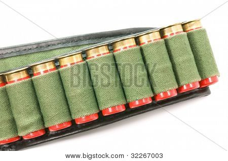 A cartridge belt with 12 gauge ammunition