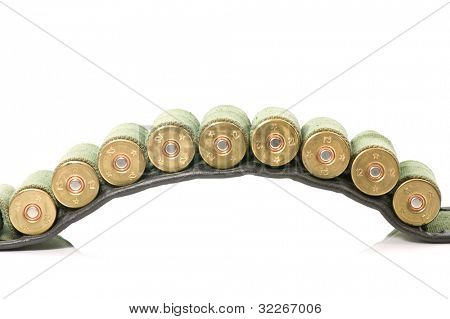 A cartridge belt with 12 gauge shots