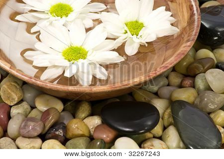 Bowl of water with flowers on pebbles and black spa stones