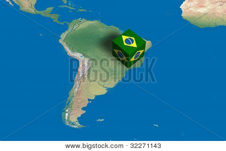Location of Brazil over the country