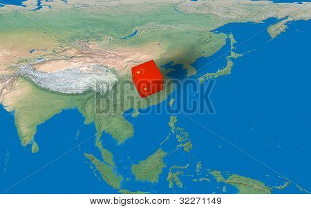 Location of China over the country