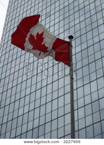 Canada Flag And Skyscraper