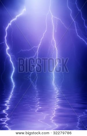 Lightning background reflecting in water