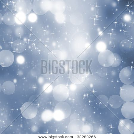 Blurred holiday lights with stars
