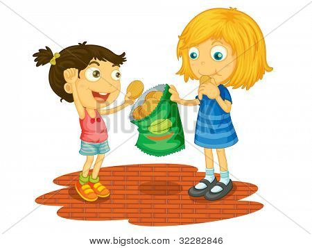 Illustration of children sharing chips - EPS VECTOR format also available in my portfolio.