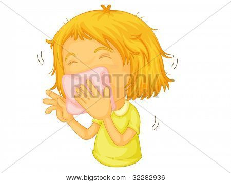 Illustration of a girl sneezing - EPS VECTOR format also available in my portfolio.