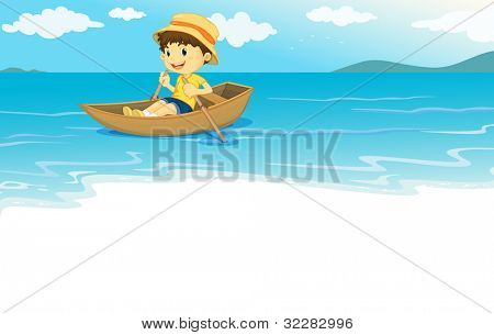 Illustration of a young boy  rowing on the water - EPS VECTOR format also available in my portfolio.