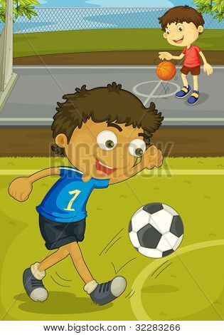 Illustration of kids playing in the yard - EPS VECTOR format also available in my portfolio.