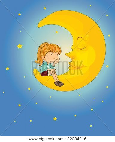 Illustration of girl on the moon - EPS VECTOR format also available in my portfolio.