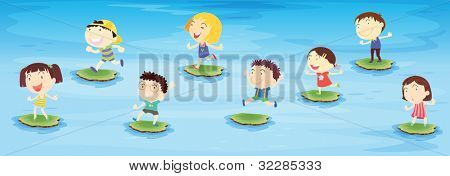 Illustration of kids jumping on pond - EPS VECTOR format also available in my portfolio.