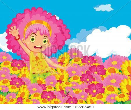 Illustration of girl in colourful garden - EPS VECTOR format also available in my portfolio.