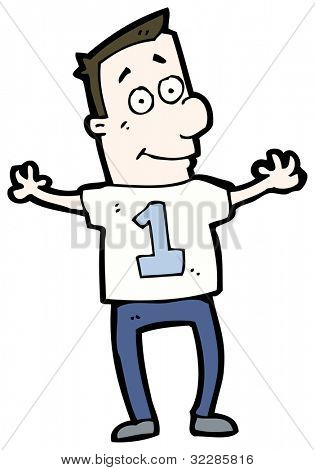cartoon man wearing shirt number on