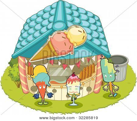 Illustration of an ice-cream shop on white - EPS VECTOR format also available in my portfolio.