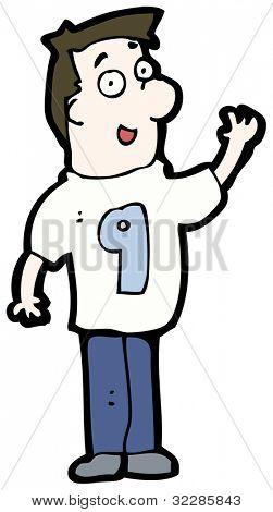 cartoon man wearing shirt number nine