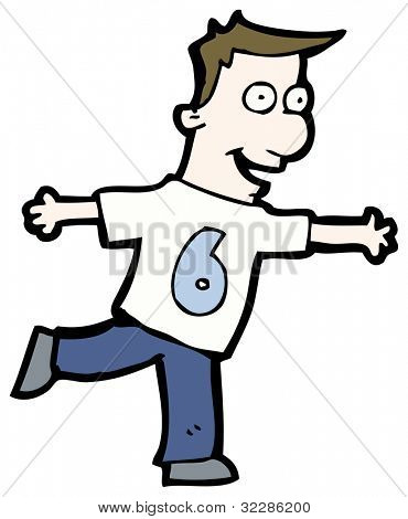 cartoon man wearing shirt number six